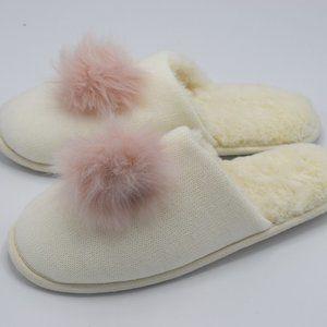 I.N.C. Pom Pom Knit Slippers Ivory Pink